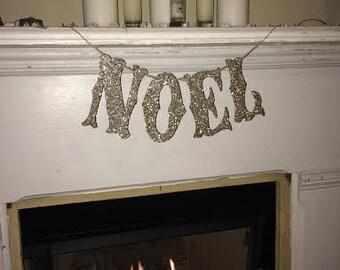 Noel Silver Glitter Christmas banner~Silver Glitter Christmas banner Large