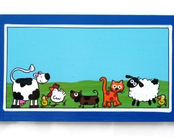 The Blue Farm animals Door Sign For Children's Room