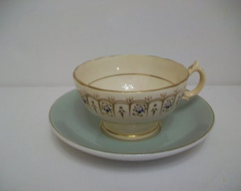 Rare 1950s W H Grindley Cup & Saucer, White Satin, Ironstone