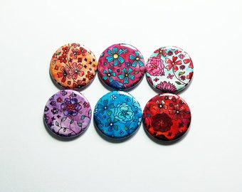Flower Magnets, Magnets, Button magnets, Fridge Magnets, Kitchen Magnets, Locker Magnets, Magnet set, Floral magnets, Bright Colors (8211)