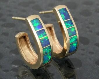 Australian opal inlay 14k gold hoop earrings