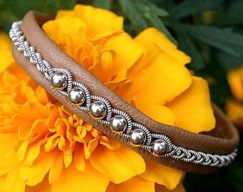 Sami Lapland Viking Swedish armband | Leather women cuff bracelet | Bright summer beaded bracelet | Braided leather Nordic bracelet | Bangle