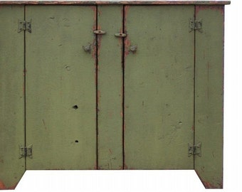 Primitive cabinet farmhouse furniture rustic  painted distressed old style Early American kitchen jelly cupboard reproduction