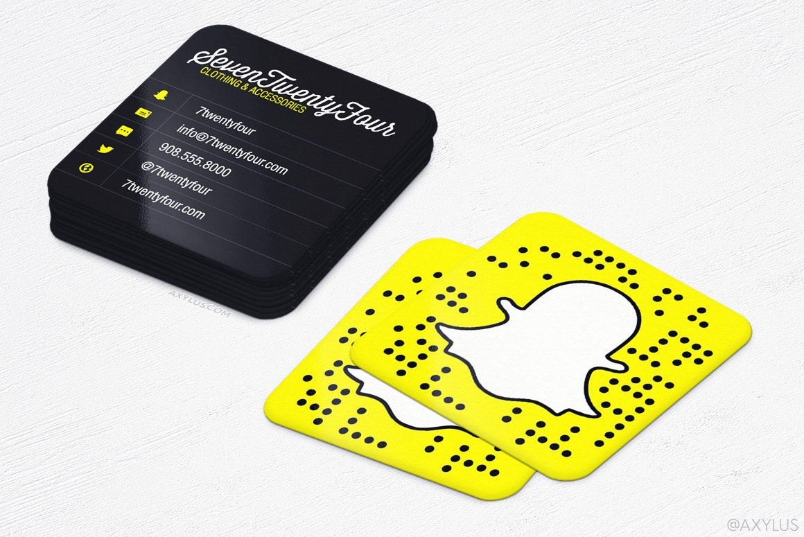 Snapchat Cards Mini Business Cards Social Media Rounded