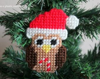 Plastic Canvas Christmas Pattern: Christmas Owl, Christmas Ornaments, Christmas Tree Decoration, Owl Decoration, Christmas Decoration, PDF