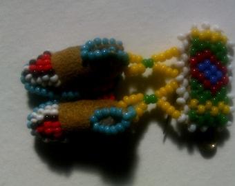 Deerskin beaded moccasins souvenir