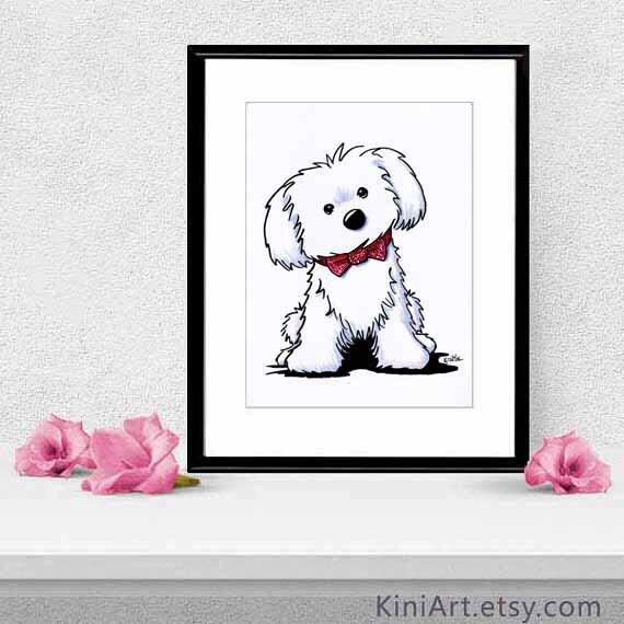 Enmarcado y enmarañado Original Glamour Maltés perro arte