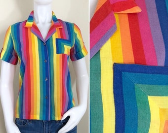 80s Rainbow Vertical Striped Short Sleeve Fitted Blouse, Size XS to Small
