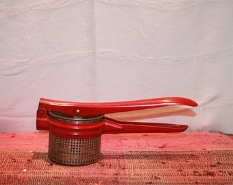 "Vintage Red Handle Potato Ricer 11 1/2"" Long"