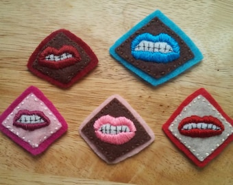 Lips Patch (or Pin/Brooch): Sneer