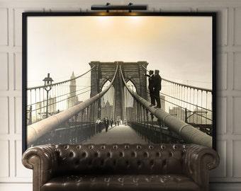Brooklyn Bridge Art : Brooklyn Bridge Photo print - Brooklyn Bridge Print - New York photo Print - Rare Brooklyn Bridge photo Circa 1922