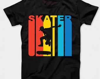 Retro 1970's Style Skater Silhouette Skateboarding Kids T-Shirt