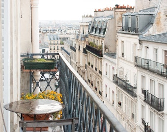 Paris Photography, Montmartre Parisian Apartment, soft blue and grey tones, Paris, France, French Wall Decor, Parisian Balcony