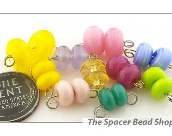 EASTER EGGS Pastels Bead PAIRS Lampwork Spacers Glass Handmade - The Spacer Bead Shop