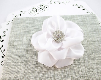 White Flower Hair Clip, White Wedding Flower, Rhinestone White Flower Clip, White Satin Flower, Flower Girl Bow, Bridesmaid Hair Clip