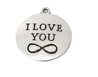 round engraved I LOVE YOU charm infinity silver 25mm (19)