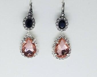 18th Century Earrings - Black & Pink Crystal Victorian - Historical Jewelry - Earrings  - Georgian Paste