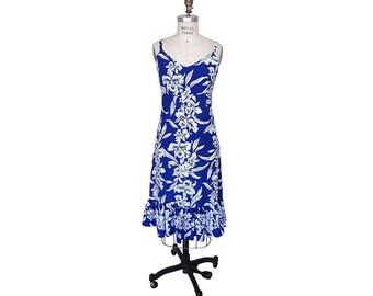 Hawaiian Sun Dress - Ruffle Bottom - Blue