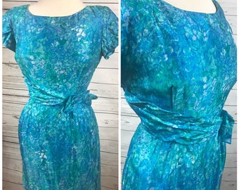 60's floral spring dress - vintage 50's wiggle dress - blue mad men dress vintage - 60's floral dress