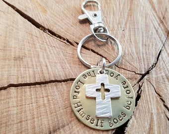 "Key Chain. ""The Lord Himself goes before you."" Graduate gift. Inspirational gift. Lobster clasp key chain. Hand-stamped metal."