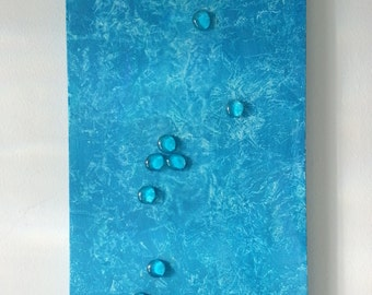 Rain - Acrylic Abstract Painting with found objects