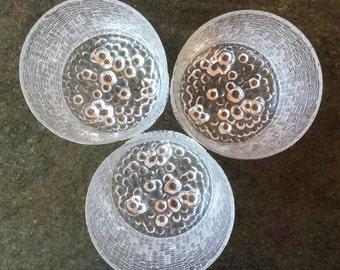 3 Iittala Ultima Thule footed tumblers 200ml capacity Made in Finland Tapio Wirkkala 1968 design Vintage glassware