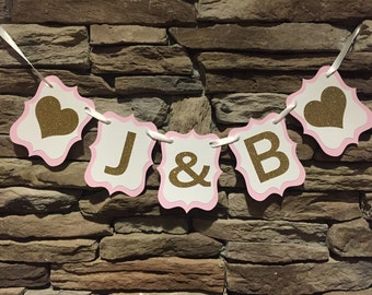 Bride & Groom initials banner, bride and groom banner, initials banner, bridal shower banner