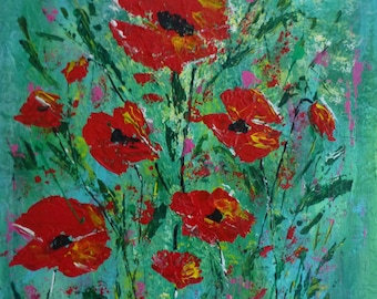 Poppy 2 original art on canvas