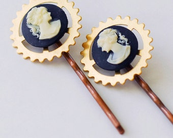 Steampunk Victorian Cameo and Gear Bobby Pins, Steampunk Hair Pins, Cameo Jewelry, Cameo Bobby Pins, Cameo Hair Pins, JewelryFineAndDandy