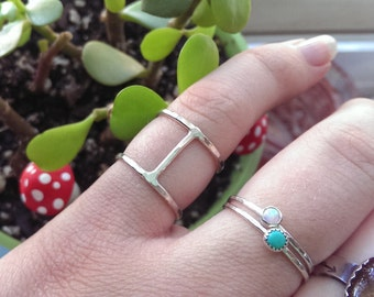 Silver Double Stacking ring | Sterling stacking ring | Sizes 3 through 9.5 | Thin oxidized ring | hammered stacking ring