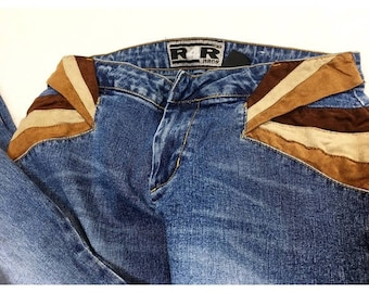 Vintage 90's does 70's Rave4Real faux suede denim flare jeans