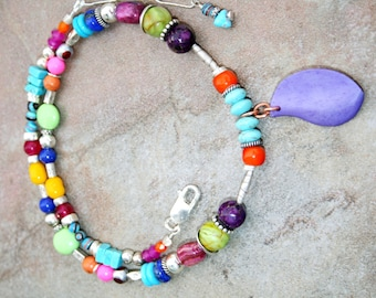 CHEROKEE Turquoise, Jade, Glass, Quartz, Hilltribe and Sterling Necklace