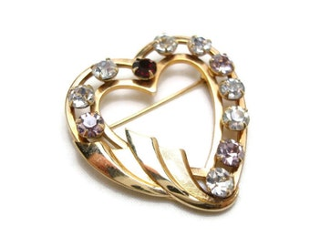 Vintage Gold Heart Brooch - Gold and Rhinestone Brooch - 12Kt Gold Filled Heart Pin