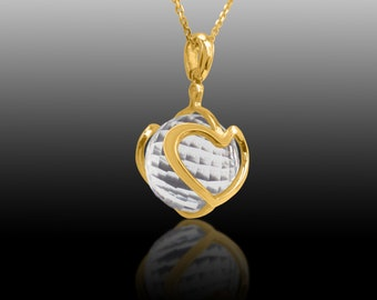 Heart  Pendant - 18K Gold  With Faceted Natural Clear Quartz
