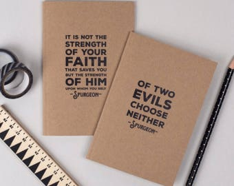Kraft Spurgeon Notebooks | Christian Mini Journals | Faith Journals | Christian Quotes | Pack of 2