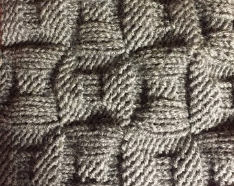 hand-knit cowl in gray