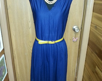 Vintage dress, vintage blue dress, 1970's dress, XL vintage dress. A15