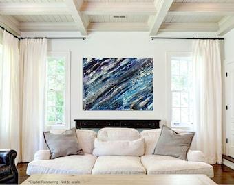 "Fluid Painting | Ocean Art | Abstract | Modern Art | Small Canvas- 12x9"""