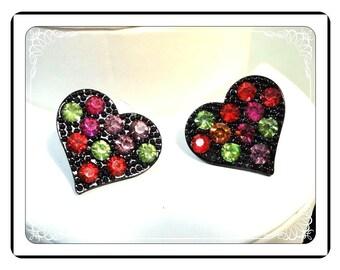 Retro Pop-ART Earrings - Vintage Black Heart w Multi-colored Rhinestones - Pierced Earrings   E359a-030813010
