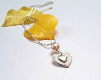 Fine Silver Heart Necklace With Swarovski Pearl - 999 Fine Silver Heart Necklace - Silver Heart Necklace - Silver Heart Pendant