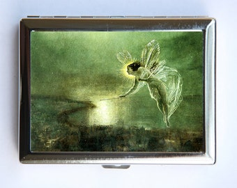 Fairy Cigarette Case id case Wallet Business Card Holder with a wand fairytale Kitsch art nouveau