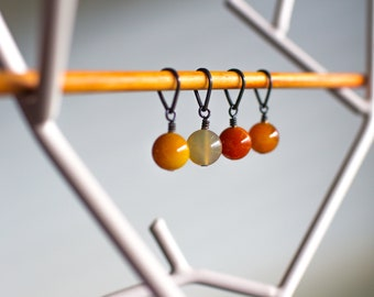 Knitting stitch markers with natural stone beads — agates. Set of 4.