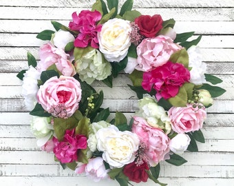 Ready to Ship, Spring and Summer Floral Wreath, Mother's Day Gift, Peony Wreath, Rose Wreath, Hydrangea Wreath, Front Door Wreath, Pink
