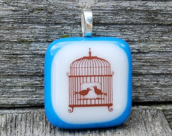 SALE Birdcage and Love Birds Fused Glass Pendant Handmade Jewelry Valentine's Day
