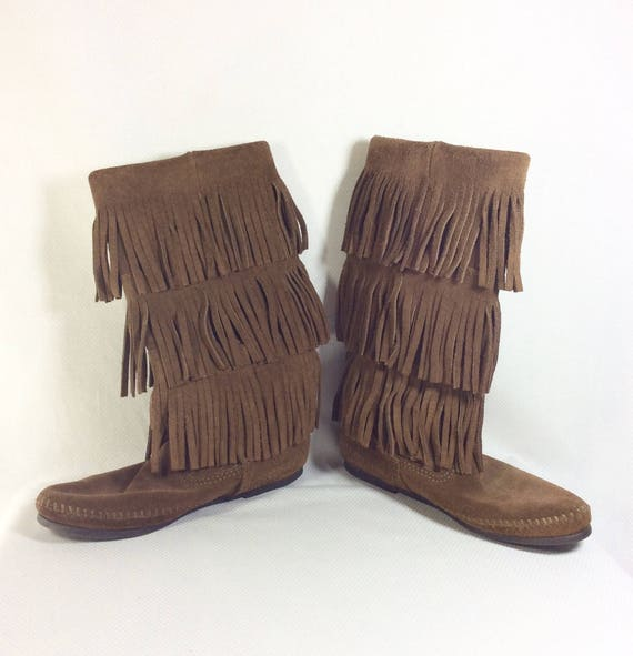 NEW 6 Moccasins Tier Suede size 3 Fringed Brown Vintage Womens LIKE PdFqP