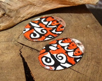 Ethnic charm enamelled on copper, red, white, black 30 x 20 mm-connectors is handmade-artisan beads enameled charms