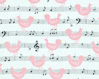 By The HALF YARD - Girly Girl by Dana Brooks for Henry Glass, Pink Birds on Music Notes #9652-02