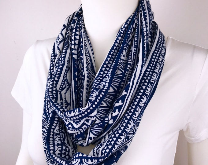 Blue white Infinity tube scarf Knit jersey Infinity tube scarf  cowl woman man unisex scarf circle scarf Gift for Women
