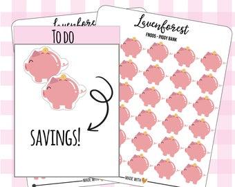 piggy bank planner stickers, saving planner stickers, stickers piggy bank, saving stickers, finance stickers, happy planner, money, FN005