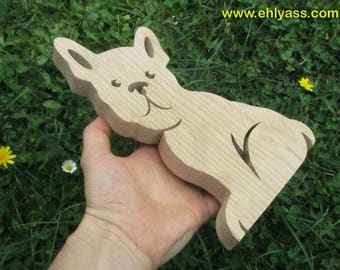 Wooden fretwork dog Bulldog sculpture